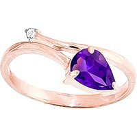 Amethyst and Diamond Top and Tail Ring in 18ct Rose Gold