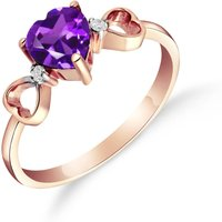 Amethyst and Diamond Trinity Ring in 18ct Rose Gold