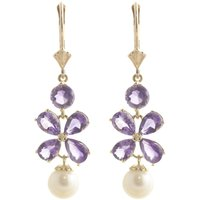Amethyst & Pearl Blossom Drop Earrings in 9ct Gold - Jewellery Gifts