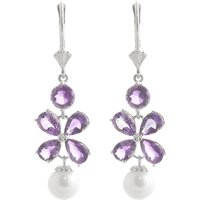 Amethyst & Pearl Blossom Drop Earrings in 9ct White Gold - White Gold Gifts