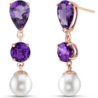 Amethyst and Pearl Droplet Earrings in 9ct Rose Gold