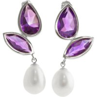 Amethyst and Pearl Petal Drop Earrings in 9ct White Gold