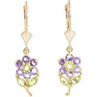 Amethyst & Peridot Flower Petal Drop Earrings in 9ct Gold - Flower Gifts