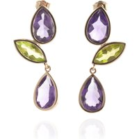 Amethyst & Peridot Petal Drop Earrings In 9ct Rose Gold