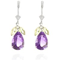 Amethyst and White Topaz Drop Earrings in 9ct White Gold