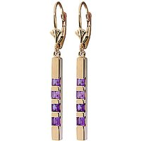 Amethyst Bar Drop Earrings 0.7 Ctw In 9ct Gold