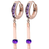 Amethyst Bar Drop Earrings 1.35 Ctw In 9ct Rose Gold