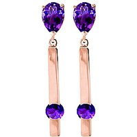 Amethyst Bar Drop Earrings 4.25 Ctw In 9ct Rose Gold