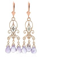 Amethyst Baroque Drop Earrings 4.81 Ctw In 9ct Rose Gold