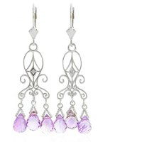 Amethyst Baroque Drop Earrings 4.81 Ctw In 9ct White Gold