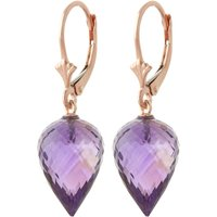 Amethyst Briolette Drop Earrings 19 Ctw In 9ct Rose Gold