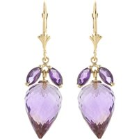 Amethyst Briolette Drop Earrings 20 Ctw In 9ct Gold