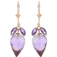 Amethyst Briolette Drop Earrings 20 Ctw In 9ct Rose Gold