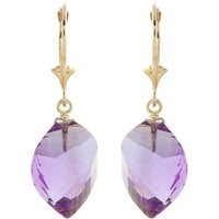 Amethyst Briolette Drop Earrings 21.5 Ctw In 9ct Gold