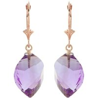 Amethyst Briolette Drop Earrings 21.5 Ctw In 9ct Rose Gold