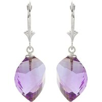 Amethyst Briolette Drop Earrings 21.5 Ctw In 9ct White Gold