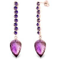Amethyst Briolette Drop Earrings 22.1 Ctw In 9ct Rose Gold