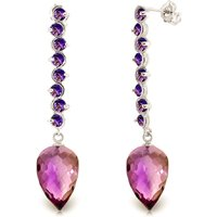 Amethyst Briolette Drop Earrings 22.1 Ctw In 9ct White Gold