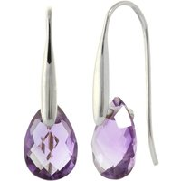 Amethyst Briolette Drop Earrings 6 Ctw In 9ct White Gold