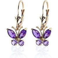 Amethyst Butterfly Drop Earrings 1.24 Ctw In 9ct Gold