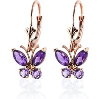Amethyst Butterfly Drop Earrings 1.24 Ctw In 9ct Rose Gold