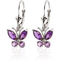 Amethyst Butterfly Drop Earrings 1.24 Ctw In 9ct White Gold