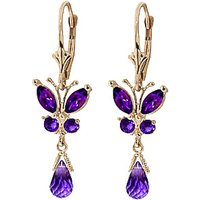 Amethyst Butterfly Drop Earrings 2.74 Ctw In 9ct Gold