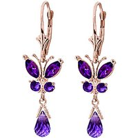 Amethyst Butterfly Drop Earrings 2.74 Ctw In 9ct Rose Gold