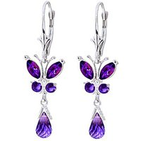 Amethyst Butterfly Drop Earrings 2.74 Ctw In 9ct White Gold