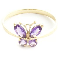 Amethyst Butterfly Ring 0.6 Ctw In 9ct Gold