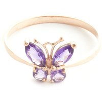 Amethyst Butterfly Ring 0.6 Ctw In 9ct Rose Gold