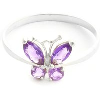 Amethyst Butterfly Ring 0.6 ctw in 9ct White Gold - Butterfly Gifts