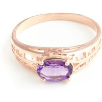 Amethyst Catalan Filigree Ring 1.15 Ct In 9ct Rose Gold