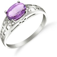 Amethyst Catalan Filigree Ring 1.15 Ct In 9ct White Gold