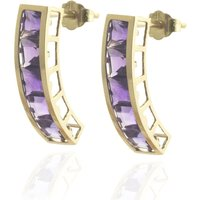 Amethyst Channel Set Stud Earrings 4.5 Ctw In 9ct Gold