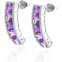 Amethyst Channel Set Stud Earrings 4.5 Ctw In 9ct White Gold