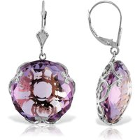 Amethyst Chequer Earrings 36 Ctw In 9ct White Gold