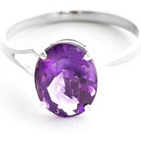 Amethyst Claw Set Ring 2.2 Ct In 9ct White Gold