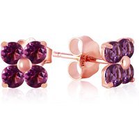 Amethyst Clover Stud Earrings 1.15 Ctw In 9ct Rose Gold