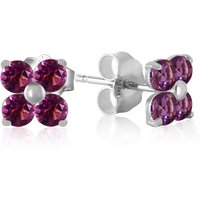 Amethyst Clover Stud Earrings 1.15 Ctw In 9ct White Gold