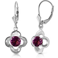 Amethyst Corona Drop Earrings 1.1 Ctw In 9ct White Gold