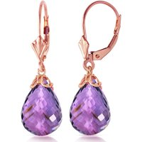 Amethyst Crown Drop Earrings 14 Ctw In 9ct Rose Gold