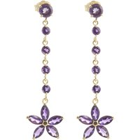 Amethyst Daisy Chain Drop Earrings 4.8 ctw in 9ct Gold - Jewellery Gifts