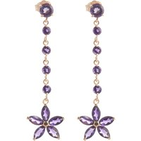 Amethyst Daisy Chain Drop Earrings 4.8 ctw in 9ct Rose Gold