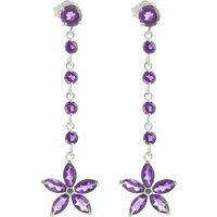 Amethyst Daisy Chain Drop Earrings 4.8 ctw in 9ct White Gold - White Gold Gifts
