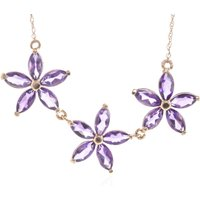 Amethyst Daisy Chain Pendant Necklace 4.2 ctw in 9ct Rose Gold