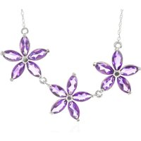 Amethyst Daisy Chain Pendant Necklace 4.2 ctw in 9ct White Gold