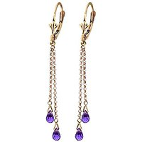 Amethyst Demi Chain Drop Earrings 2.5 ctw in 9ct Gold - Jewellery Gifts