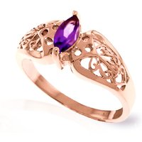 Amethyst Filigree Ring 0.2 ct in 9ct Rose Gold