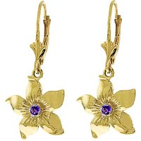 Amethyst Flower Star Drop Earrings 0.2 ctw in 9ct Gold - Flower Gifts